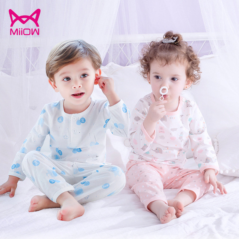 MiiOW CHILDREN'S Pajamas Boy Summer BOY'S Girls Pure Cotton Long Sleeve Tracksuit Baby Thin Type For Spring And Autumn Air Condi