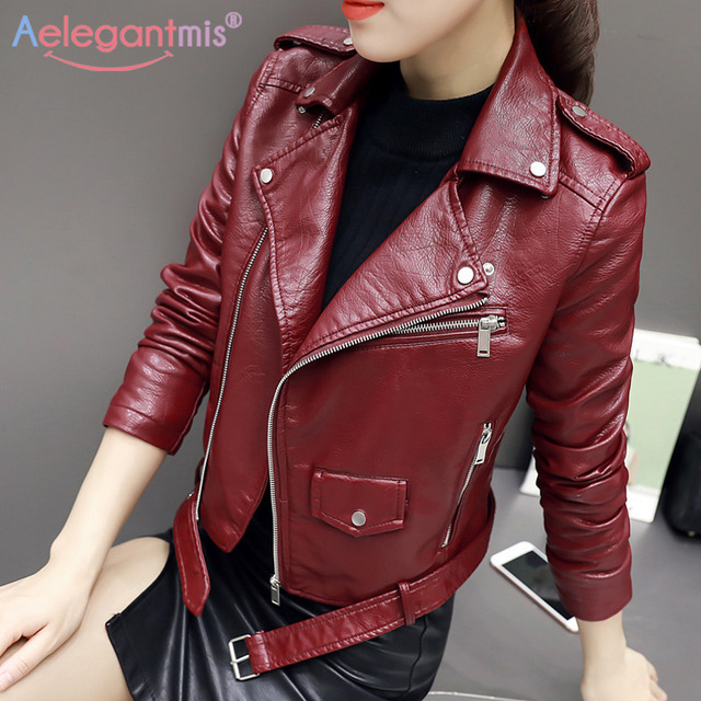Aelegantmis – Manteau court en similicuir doux, pour femmes, veste basique de moto en imitation cuir, à fermeture Éclair, nouveauté, mode dames automne 5