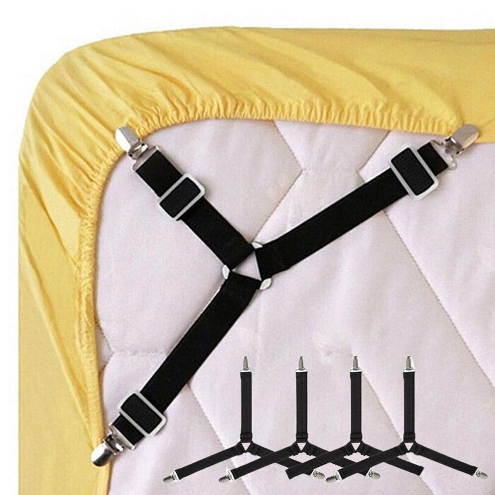 4PCS Einstellbare Dreieck Bett Blatt Befestigungen Elastische Dreieck Bett Blatt Abdeckung Ecke Halter Clip Befestigungen Kleidung Pegs