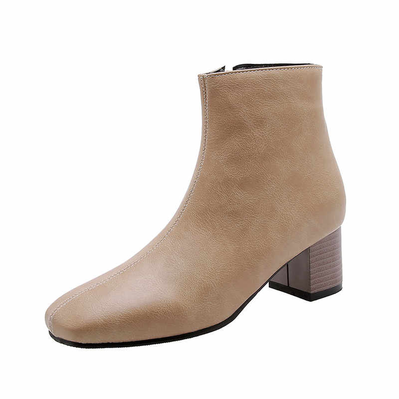 MORAZORA 2020 büyük boy 51 kadın yarım çizmeler kare ayak zip sonbahar kış yüksek topuklu çizmeler klasik vintage elbise ayakkabı bayanlar