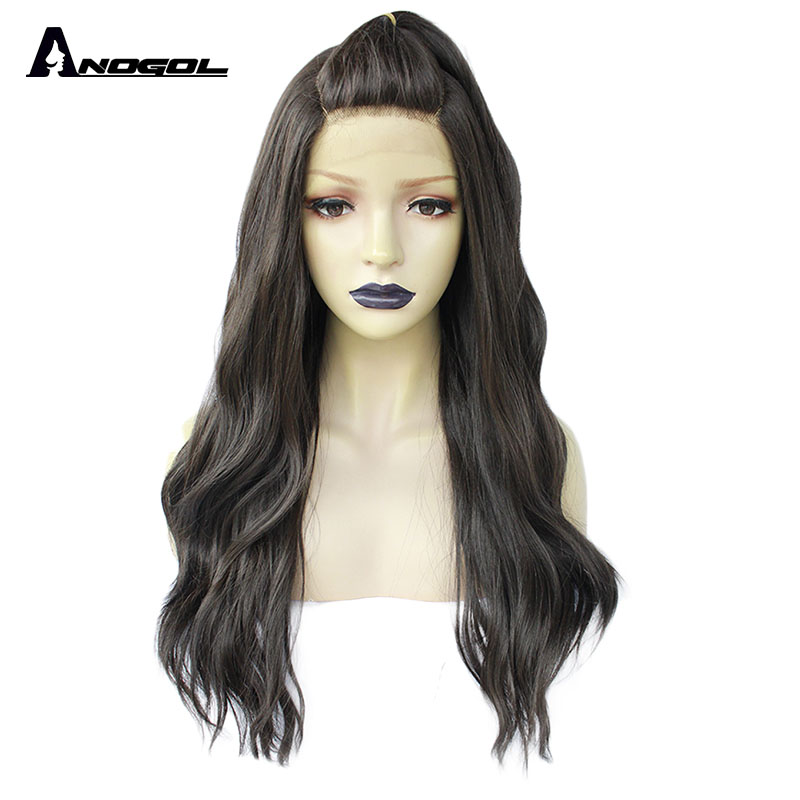 ANOGOL #4 Long Water Wave Black Synthetic Lace Front Wigs With Baby Hair For Women Natural Hair Wigs With  U Part