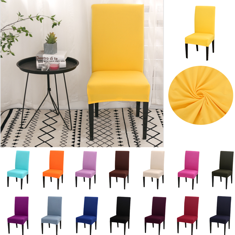 Solid Color Chair Cover Spandex For Dining Room Elastic Material Modern Slipcovers Furniture Cover Kitchen Wedding Banquet