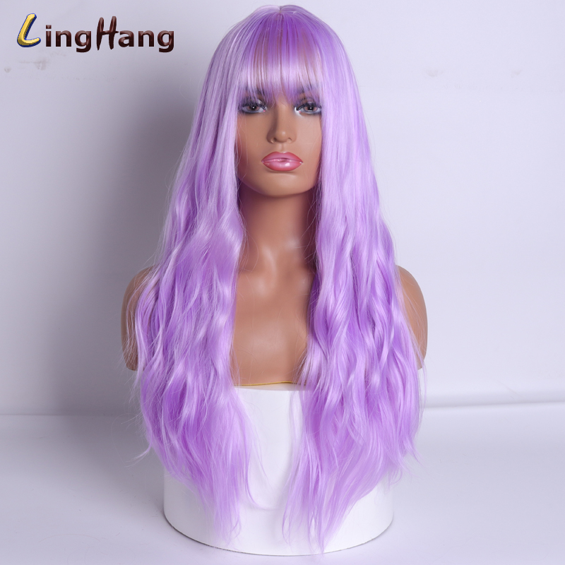 LING HANG Long Wavy Wigs Purple Wig Synthetic Hair With Bangs Wigs For Women Heat-resistant Fiber Anime Cosplay 18 Colors