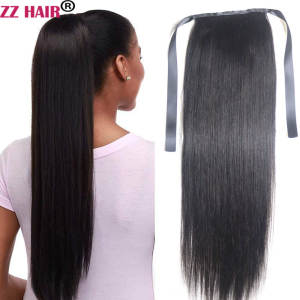 ZZHAIR Ribbon Ponytail Human-Hair-Extensions Natural 120g Straight 16--28-machine-Made