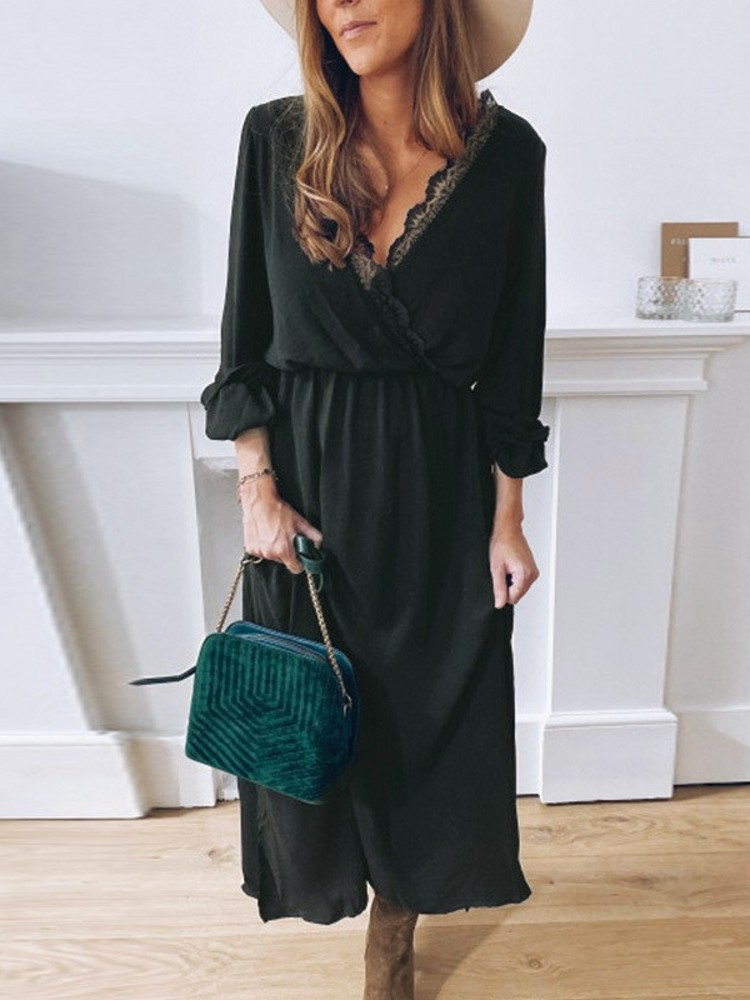 Bohemian Black Evening Dresses V Neck Lace Edge Full Sleeves A Line Formal Women Lady Dress YSAN948
