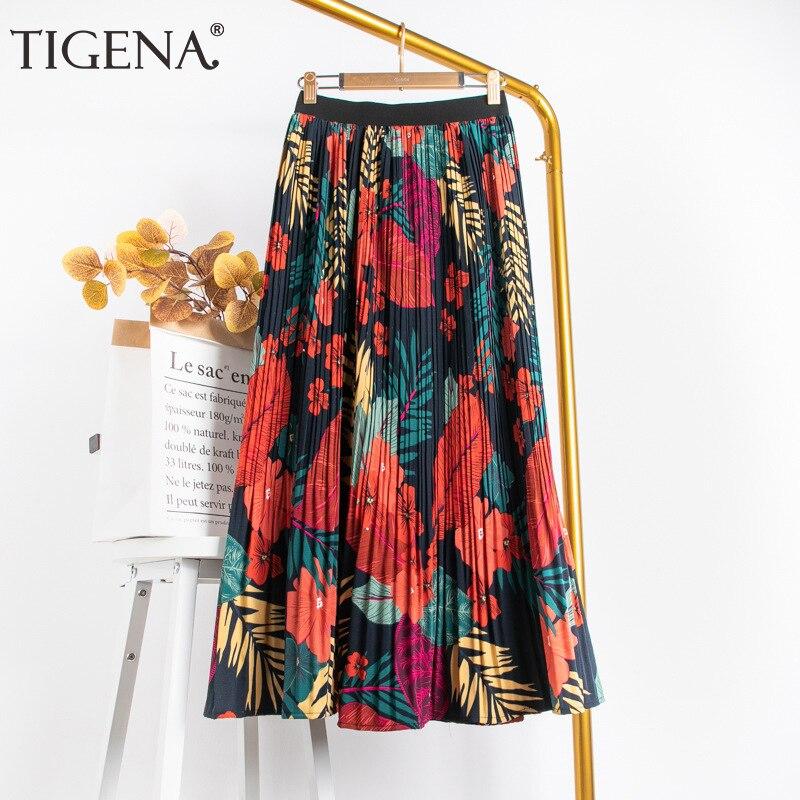 TIGENA 88cm Maxi Skirt Women Fashion 2020 Summer Casual Holiday Colorful Print A Line High Waist Pleated Long Skirt Female