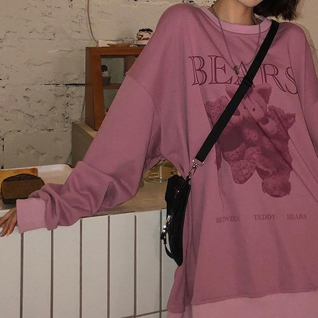 Women hoodie Big bear Pattern furry Hoodie Winter Warm Plush sweet Pullovers Woman Vintage korean Style loose Sweatshirt kawaii 5