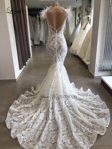 Image 3 - Liyuke Luxury Ostrich Feather Mermaid Wedding Dress Scoop Neckline With Sleeveless Chaple Train Bridal Dress