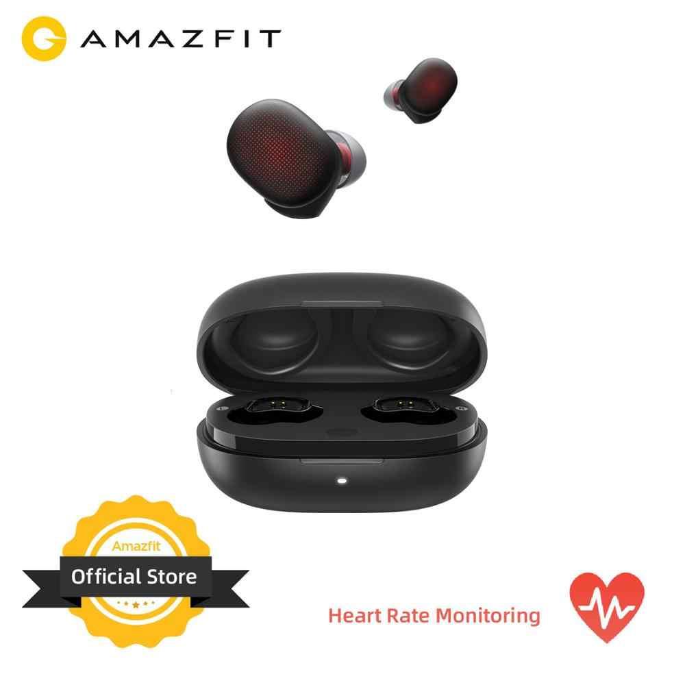 Amazfit fones de ouvido sem fio, fones de ouvido intra auriculares, sem fio, 24 horas de duração da bateria, monitor de frequência cardíaca, bluetooth 5.0 para ios android, android