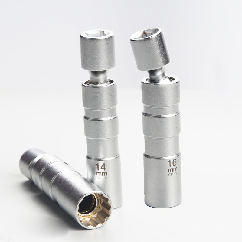1pcs High Strength Magnetic 3/8 <font><b>16MM</b></font> 14MM Universal Joint Spark Plug Socket <font><b>wrench</b></font> Removal Tool Car Stying 12 point image