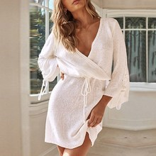 цена на Women Sexy Solid Sweater Mini Dress Club Knitted A-Line Lace Up Party Dress V Neck Long Sleeve Plus Size Dress