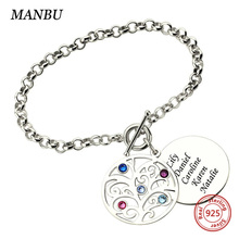 Personalized Custom family tree bracelet charms for women stone with engraved name 925 sterling silver bracelet jewelry handmade real 925 sterling silver dragon scale bracelet handmade vintage punk personalized bracelet men jewelry