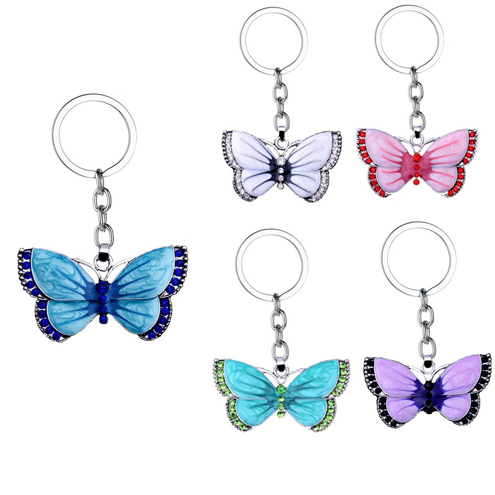 New Fashion Butterfly Key Chains Rings Crystal Rhinestone Butterfly Pendant Charm Jewelry Keychains Christmas Xmas Gift Keyring