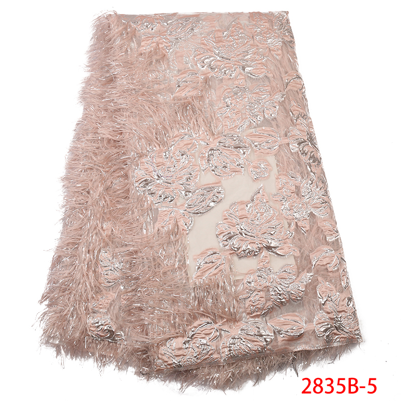Newest Jacquard Brocade Fabric,Hot Sale Tulle Fabric Lace With Feather,2019 Brocade Lace Fabric For Women Dresses KS2835B-5