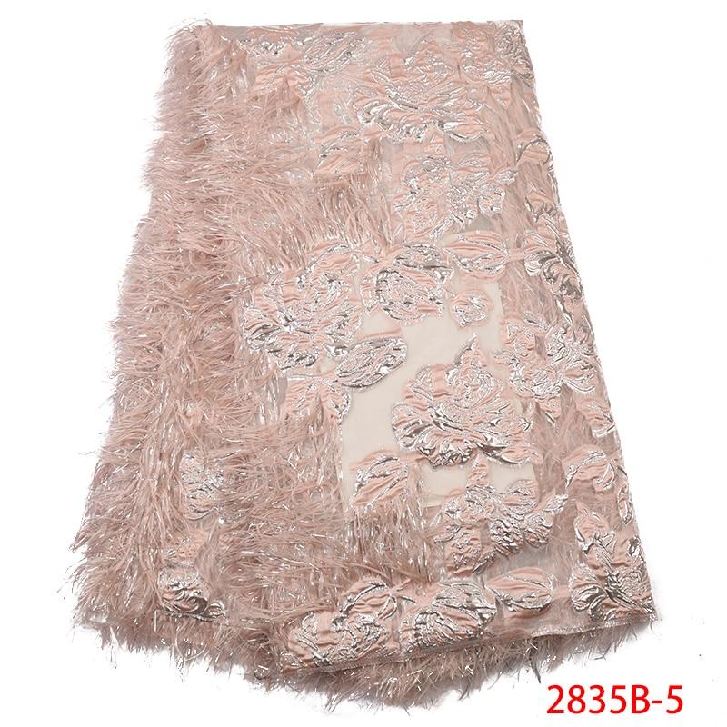 Newest Jacquard Brocade Fabric,Hot Sale Tulle Fabric Lace With Feather,2019 Brocade Lace Fabric For Women Dresses KS2835B-5