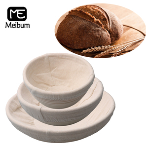 Meibum 10 Sizes Of Round Bread Fermentation Rattan Basket Dough Proofing Baskets With Linen Liner Brotform Banneton Baking Tools