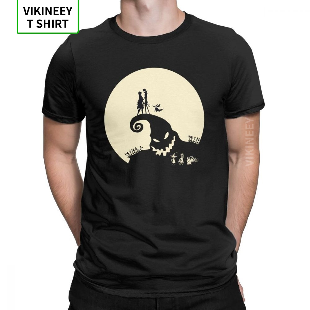 Nightmare Before Christmas Men T Shirt Jack Skellington Pumpkin king Scary Skull Tees Short Sleeve T-Shirt Cotton Adult Top