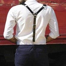 Mens Artificial Leather Suspenders Y-Back Double Shoulders Braces Hooks Belt