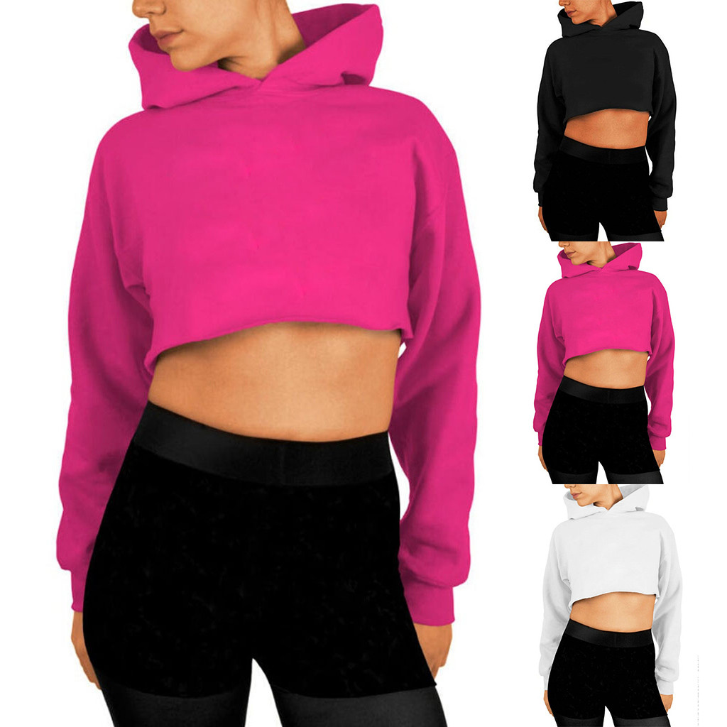 Womail Sweatshirts Autumn Women Open-neck hoodies and Sweatshirt Fashion Long Sleeve Solid Short Sweatshirt Pullover