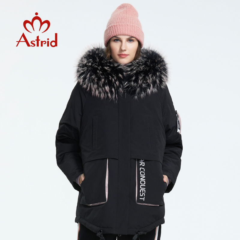 Astrid 2019 inverno nova chegada para baixo jaqueta feminina com um colarinho de pele moda estilo médio comprimento casaco de inverno com um capuz AR-3001