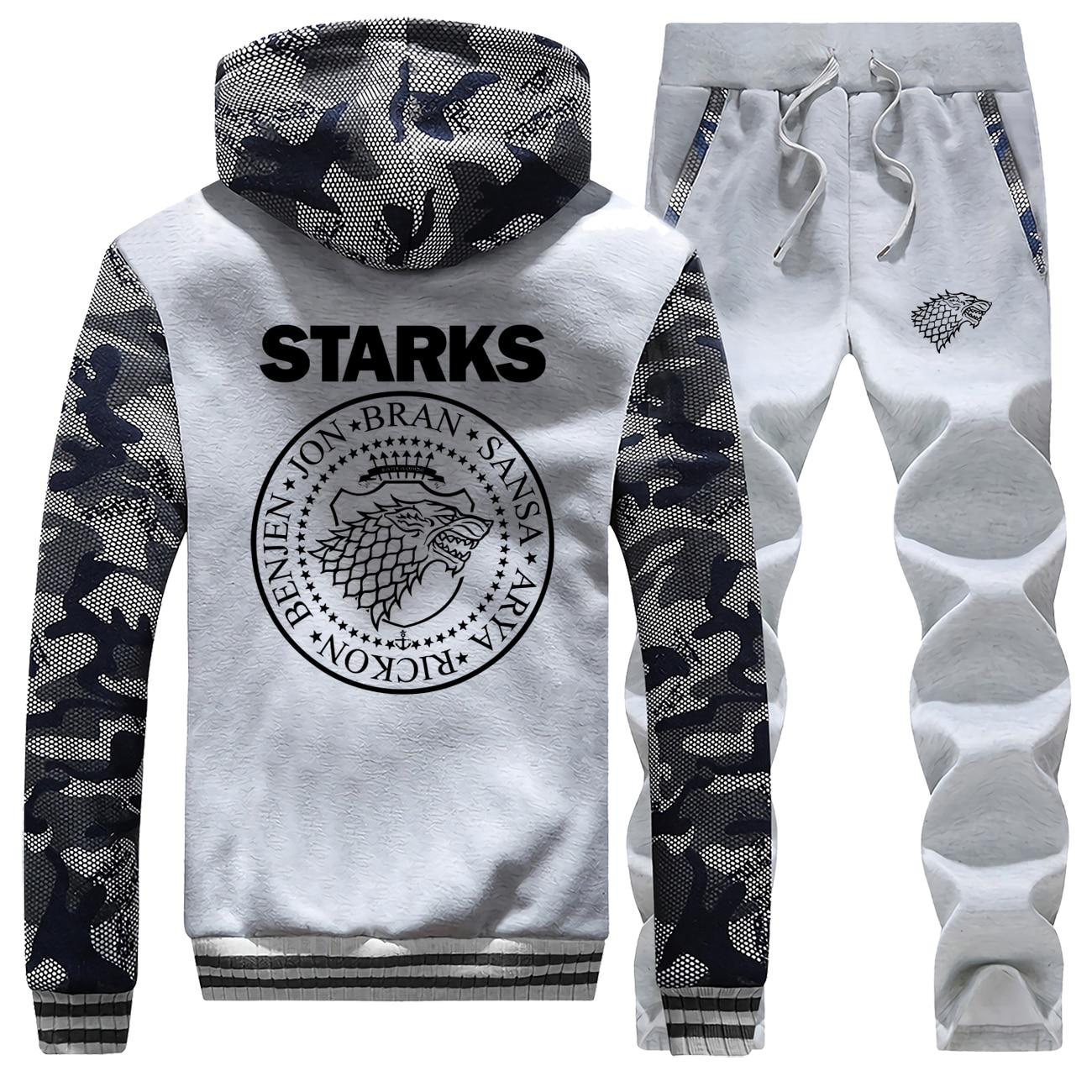 Wolf Print Winter Jacket+Pants 2 Piece Sets Men Fleece Mens Hoodies Sweatshirt Trousers Suit Fashion House Strarks Man Tracksuit