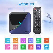 10pcs/lot dhl free (A95X F3 RGB Light S905X3 Android 9.0 TV Box 2G 16G (5PCS)+ i8 Keyboard(5PCS) )(China)