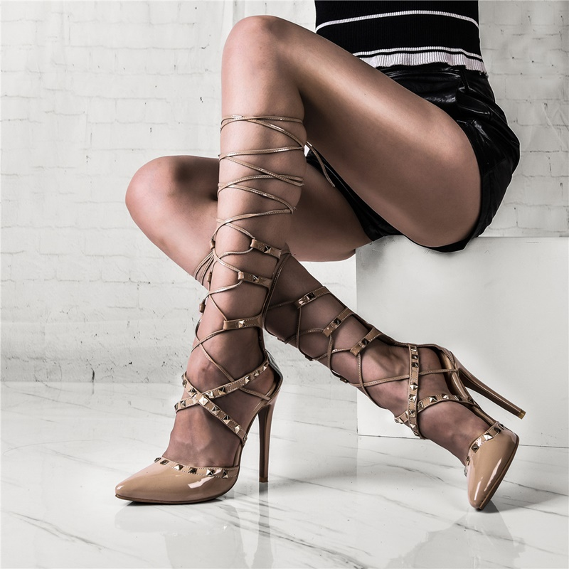 Runway Shoes Rivet-Decor Party-Dress Lace-Up Woman Pumps Strappy Gladiator High-Vamp