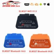 Mais novo aer super mini elm327 wifi obd2 elm 327 v1.5 wifi elm327 bluetooth v4.0 elm 327 obdii obd ferramenta de diagnóstico