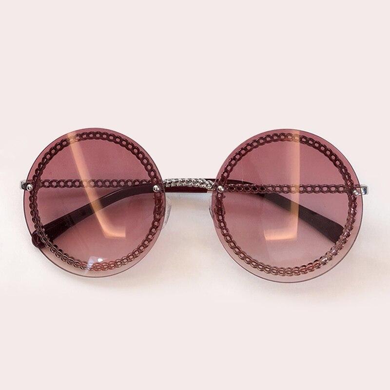 2019 Round Chain Sunglasses Women Brand Designer Rimless Chain Vintage Sunglasses Female