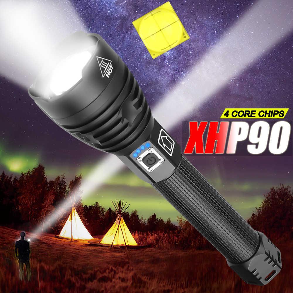7500LM החזק ביותר XHP90 LED פנס Brightest זום לפיד XHP70 USB נטענת מנורת להשתמש 18650 26650 לקמפינג ציד