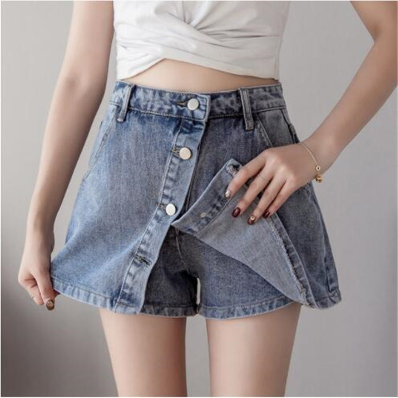 2019 Spring New Women High Waist Single-breasted Denim Shorts Skirts Korean Woman Vintage Jeans Shorts 2 Colors S-2XL