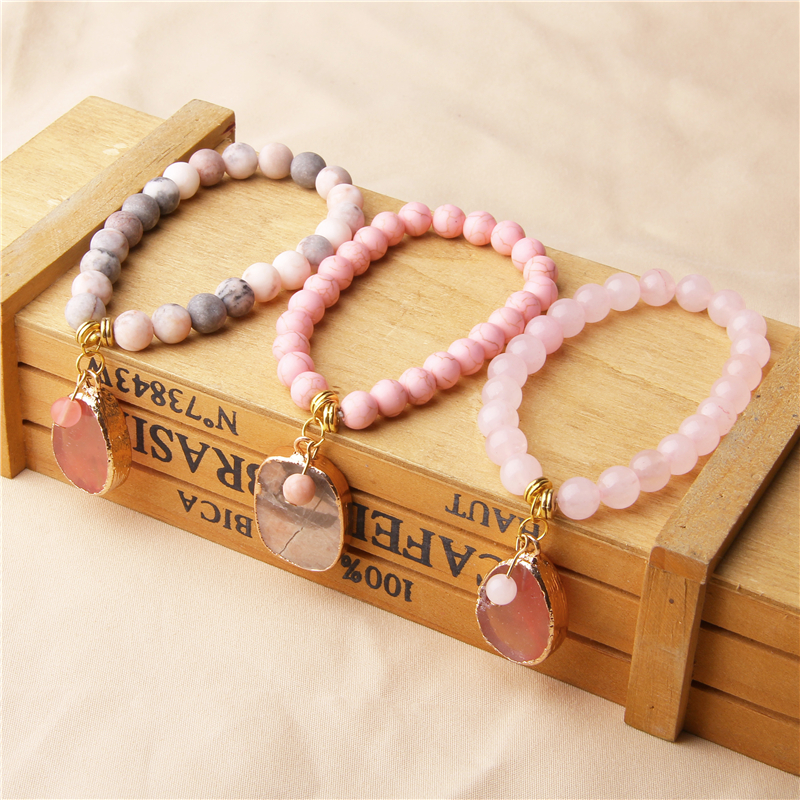 Boho Druzy Stone Bracelet Natural Beads Charm Femme Female For Women Jewelry Gift
