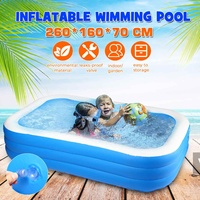 260x160x70cm Inflatable Swimming Pool Adults Kids Pool Bathing Tub Rectangular Outdoor Indoor Summer PVC Paddling Swimming Pool