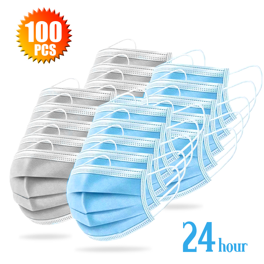 100pcs Disposable Mask Daily Protective Mask Anti Fog Dust-proof Non-woven Melt Blown 3-layer Mask Mascarilla Antipolvo 12hou