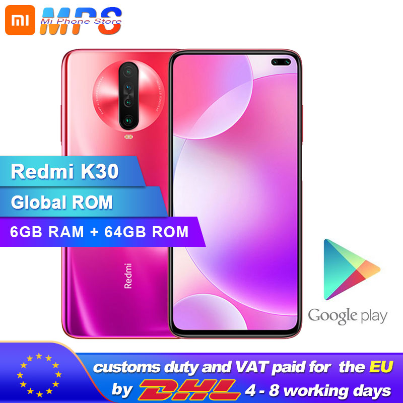 Global ROM Xiaomi Redmi K30 6GB 64GB 4G Smartphone Snapdragon 730G Octa Core 64MP Camera 120HZ Fluid Display 4500mAh