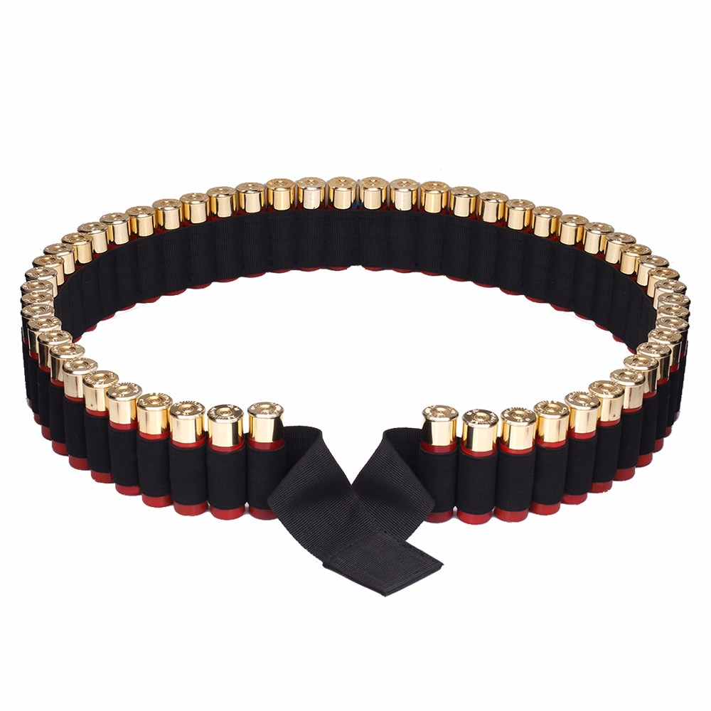 140*5CM Belt 56 Rounds Tactical Shell Clip Holder Airsoft Hunting 12 Gauge Ammo Holder Military Cartridge Belt