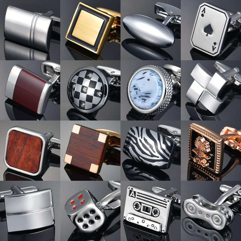 Luxury Wooden Shirt Cufflinks for mens Brown cuff link button High Quality Wedding Groom Jewelry(China)
