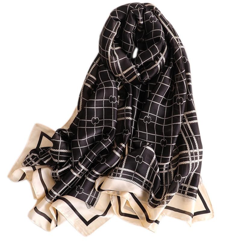 100% Silk   Scarf   Women Black Red Color Plaid Print Shawls and   Wraps   Luxury Brand Female Long Soft Foulard 180x90cm