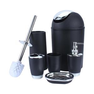 6Pcs Black Green White Bathroom Accessories Toothbrush Holder Bin Soap Dish Dispenser Tumbler Toilet Brush Toilet Bathroom Set(China)
