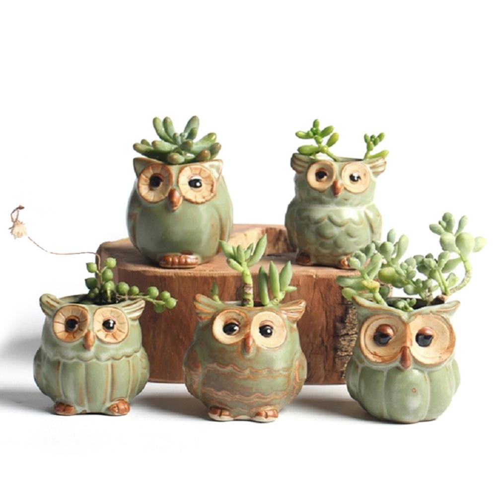 1Pcs Creative Ceramic Owl Shape Flower Pots New Ceramic Planter  Flower Pot Cute Design Succulent Planter Flowerpot Home Decor
