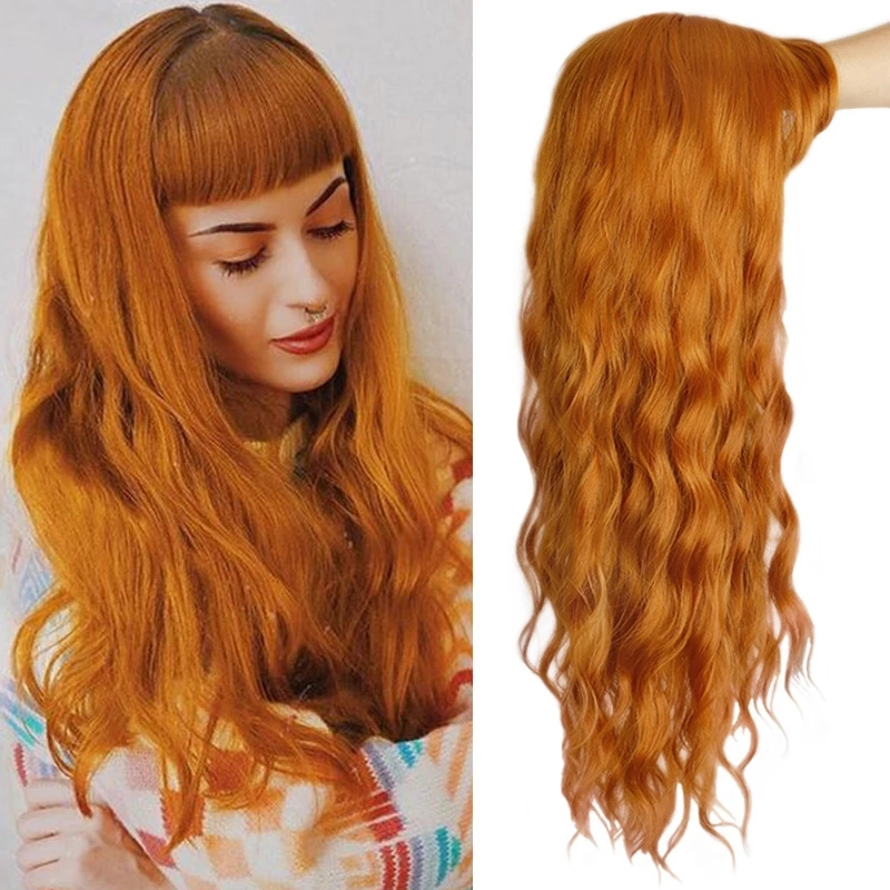 Long Orange Purple Brown Black Golden Womens Wigs with Bangs Water Wave Heat Resistant Synthetic Wigs for Women African American