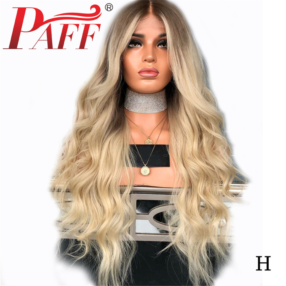 PAFF 4T/613 Two Tone Ombre Blonde 180 Density Natural Wave Human Hair Wig Full Lace Glueless Wigs Pre Plucked Bleached Knots image