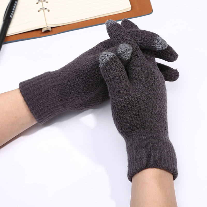 Fashion Men Winter Warm Stretch Knitted Gloves Thickened Full Fingers Touch Screen Gloves For Men Casual Mittens Guantes Mujer