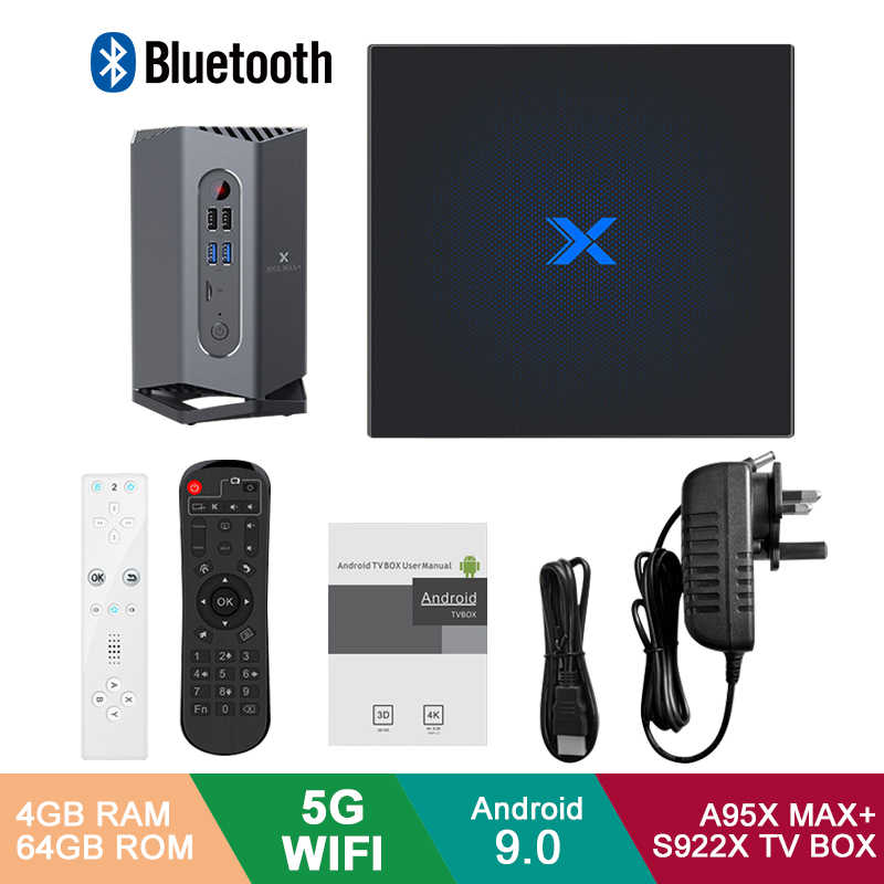 A95X Max Plus + Android 9.0 TV Box procesor Amlogic S922X 4GB pamięci RAM 64GB ROM Android 9.0 5G WIFI BT 4.2 z czujnikiem/bluetooth Gamepad