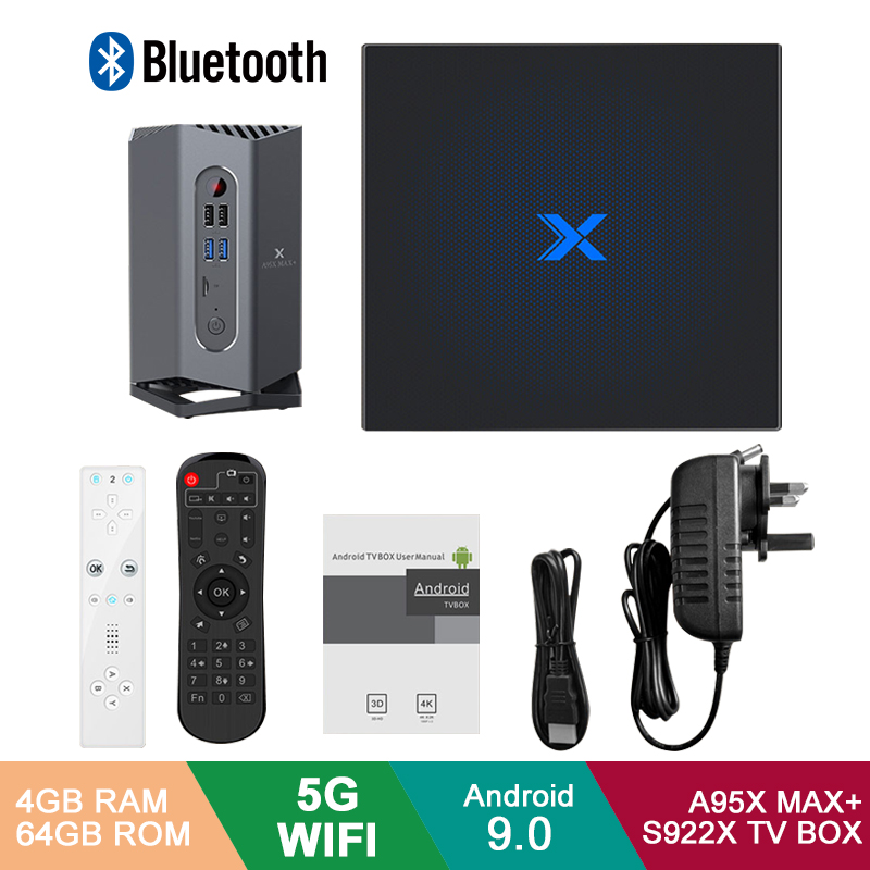 A95X Max Plus + Android 9.0 TV Box Amlogic S922X 4GB RAM 64GB ROM Android 9.0 5G WIFI BT 4.2 avec capteur/manette bluetooth