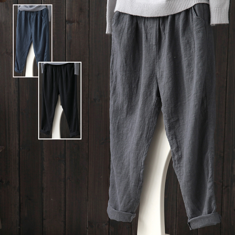 Harem Pants Linen Pants Women Summer 2020 Casual Plus Size 4XL Korean Fashion Pantalon Femme Broeken Woman Ropa KJ056