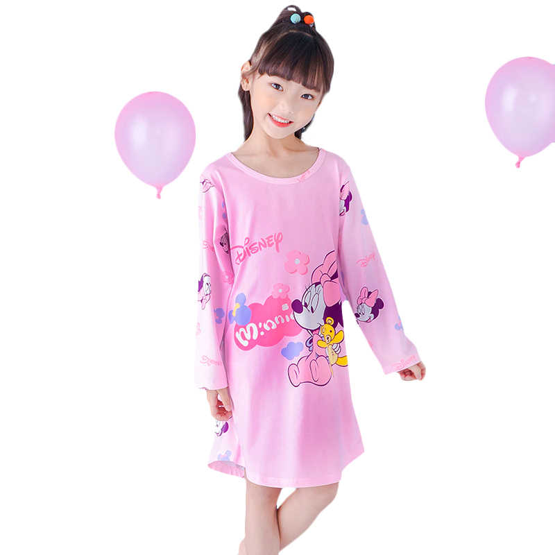 Outono crianças dormir vestido da criança meninas camisola de manga comprida dos desenhos animados crianças neve branca minnie princesa roupa de noite