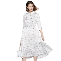 Spring and summer 2020 new fashion women letter print dress half sleeve temperament lady neckline pleated dresses