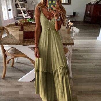 2020 nuevo diseño de las mujeres de mangas Vestido largo de verano Color del gradiente de la playa informal de espalda descubierta vestido de cuello en V vestido de fiesta