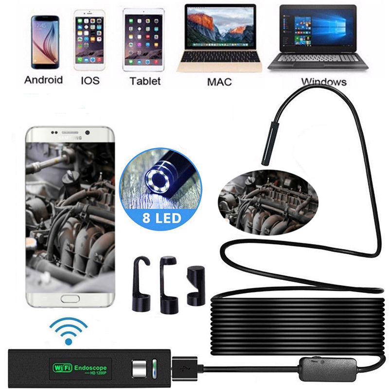 1200P беспроводная wifi эндоскопа камера USB бороскоп для Iphone Android IOS эндоскоп Водонепроницаемая мини-камера 8 мм 2 м 5 м 10 м жесткий